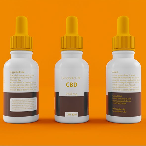 CBD Bottle with Yellow Cap