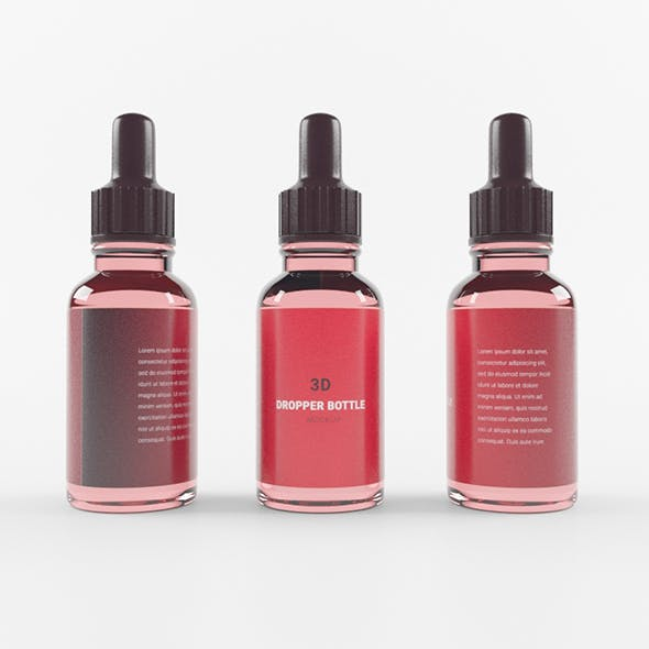 Transparent Red Dropper Bottle