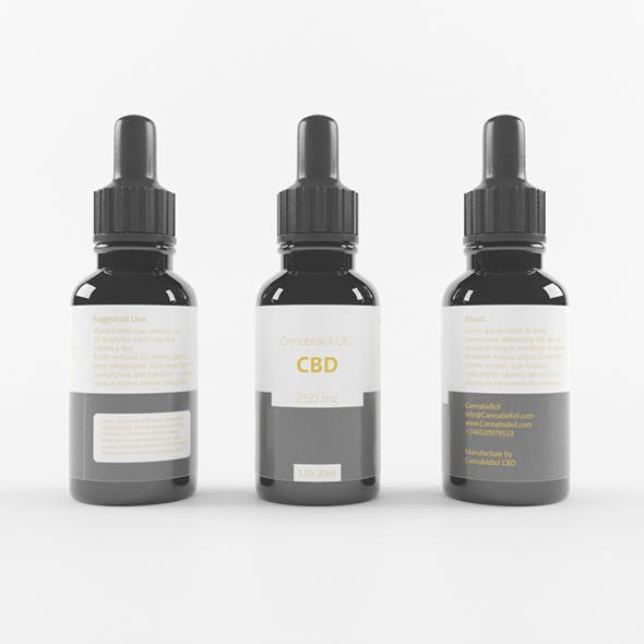 Full Black CBD Bottle