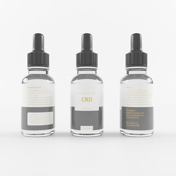 Transparent black CBD Bottle