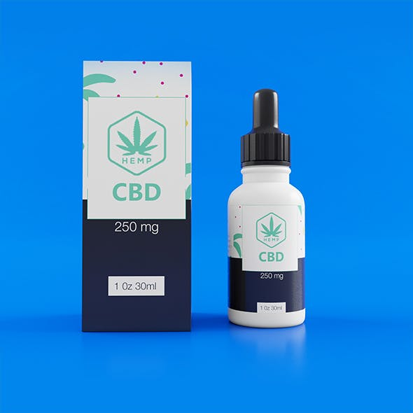 White CBD Bottle with Box - 3DOcean Item for Sale