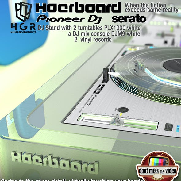 DJ Stand Hoerboard with 2 turntables and DJ mixer