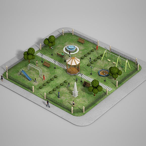 Low poly 'Urban Park' with children games