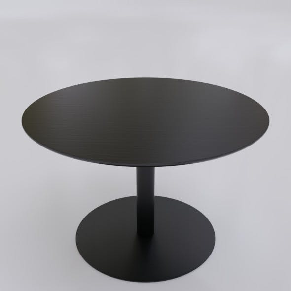Black Round Coffee Table with a Round Support