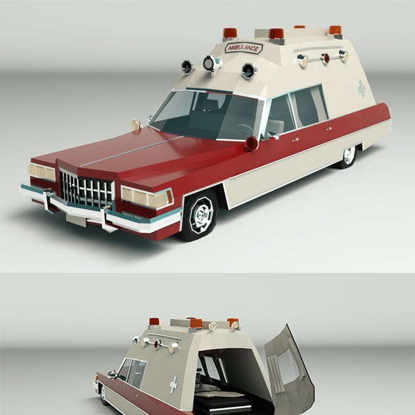 Low Poly Ambulance 04