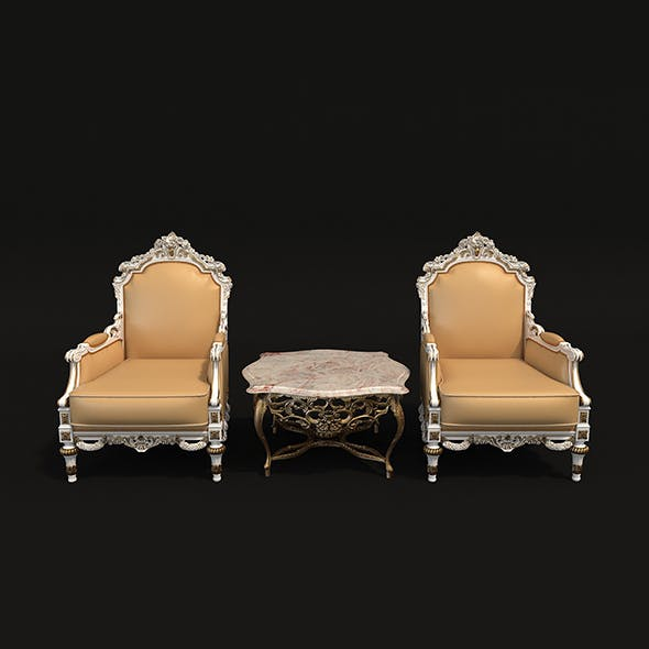 Classic Armchair and Table Set