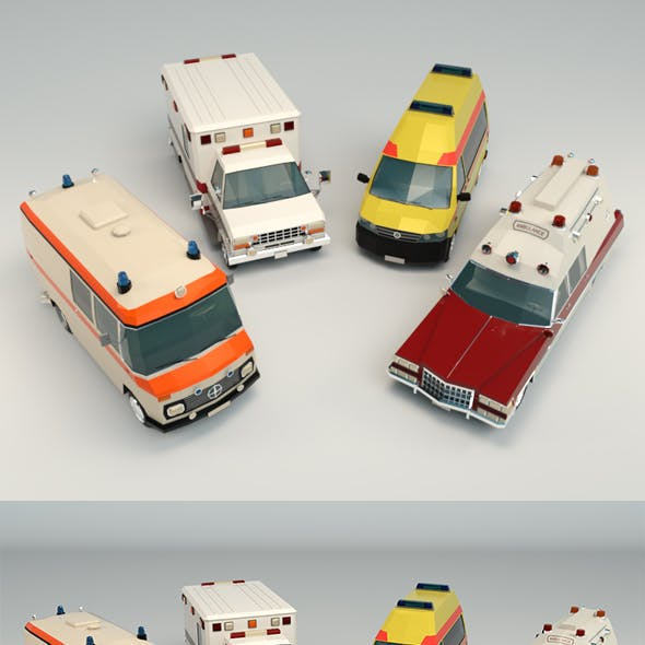 Low Poly Ambulance Pack