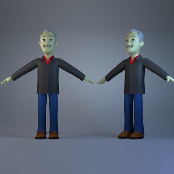 Cartoon character head  hoar  man  model old