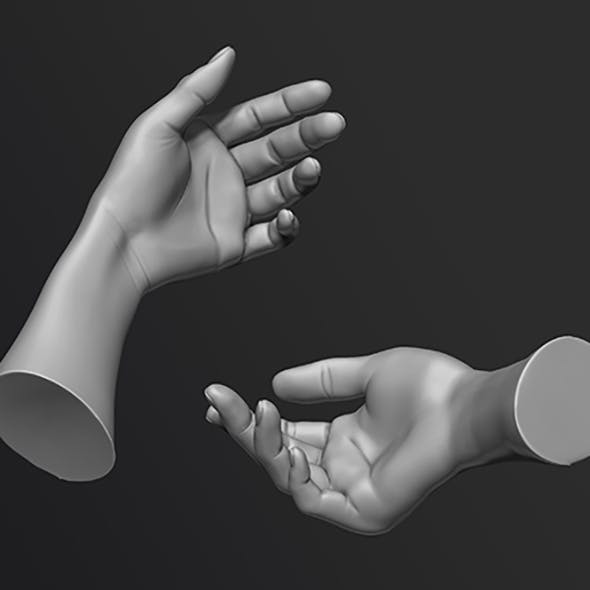high-poly models of female hands
