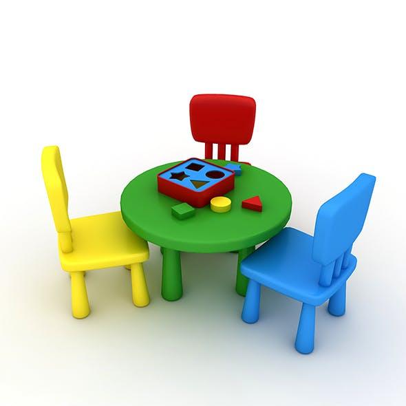 Kindergarten Table Chair 02 - 3DOcean Item for Sale