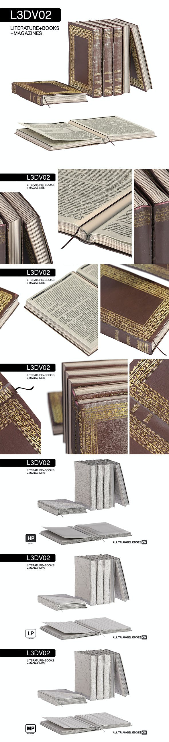 L3DV02G01 - old books set with 3 polygonal levels - 3DOcean Item for Sale