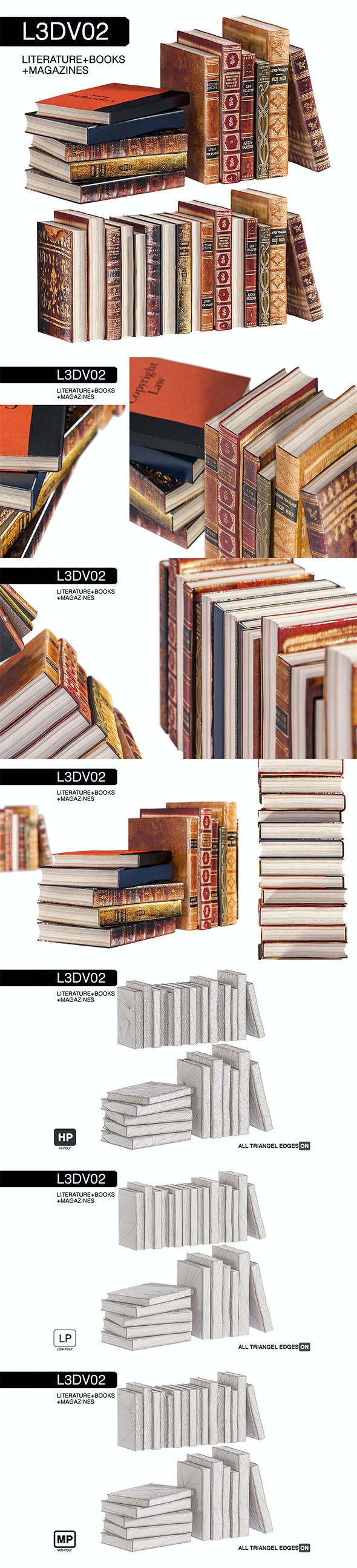 L3DV02G02 - old books set with 3 polygonal levels - 3DOcean Item for Sale