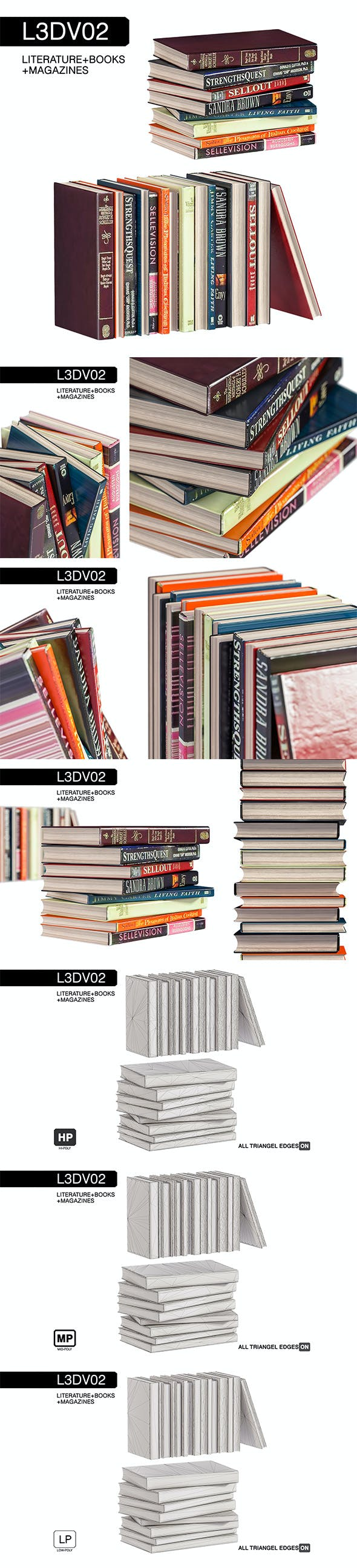 L3DV02G06 - books set with 3 polygonal levels - 3DOcean Item for Sale