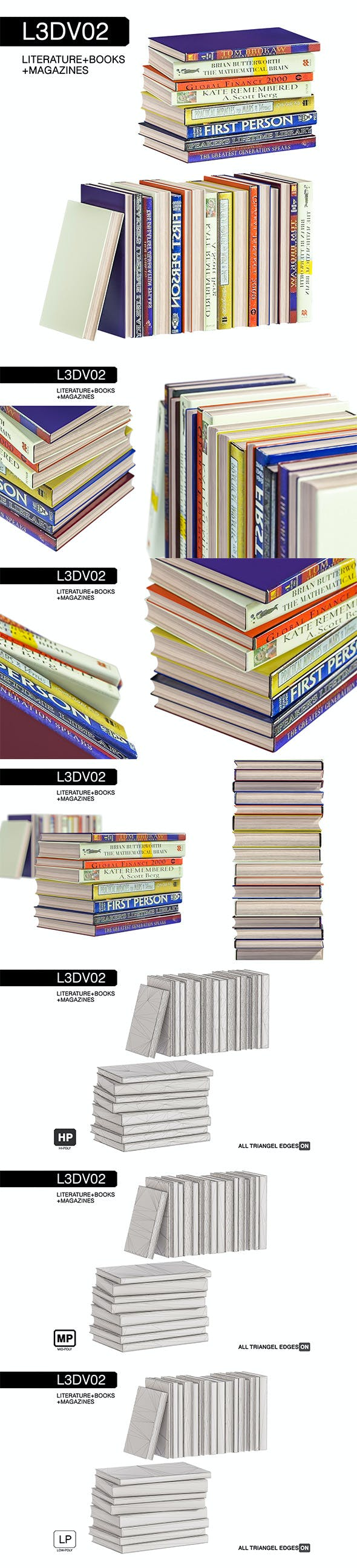 L3DV02G07 - books set with 3 polygonal levels - 3DOcean Item for Sale