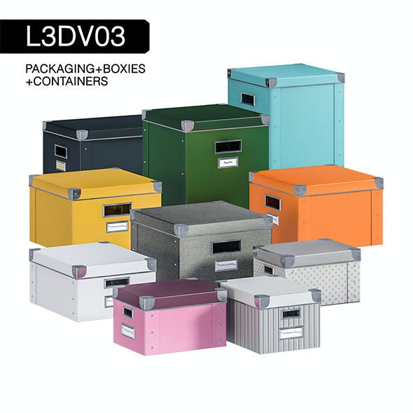 L3DV03G01 - boxes set with 3 polygonal levels