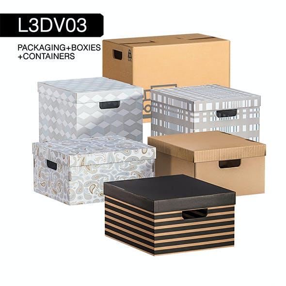 L3DV03G02 - boxes set with 3 polygonal levels