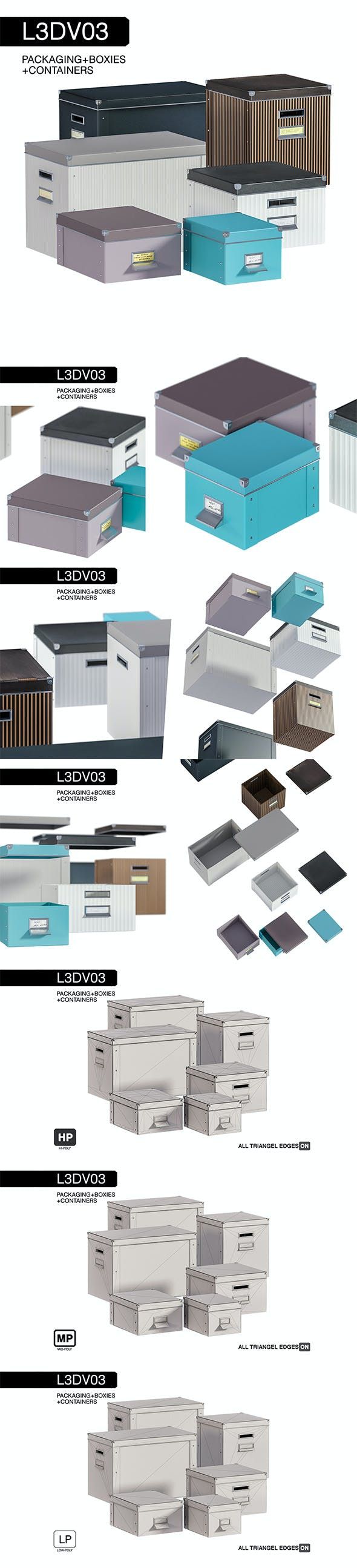 L3DV03G03 - boxes set with 3 polygonal levels - 3DOcean Item for Sale