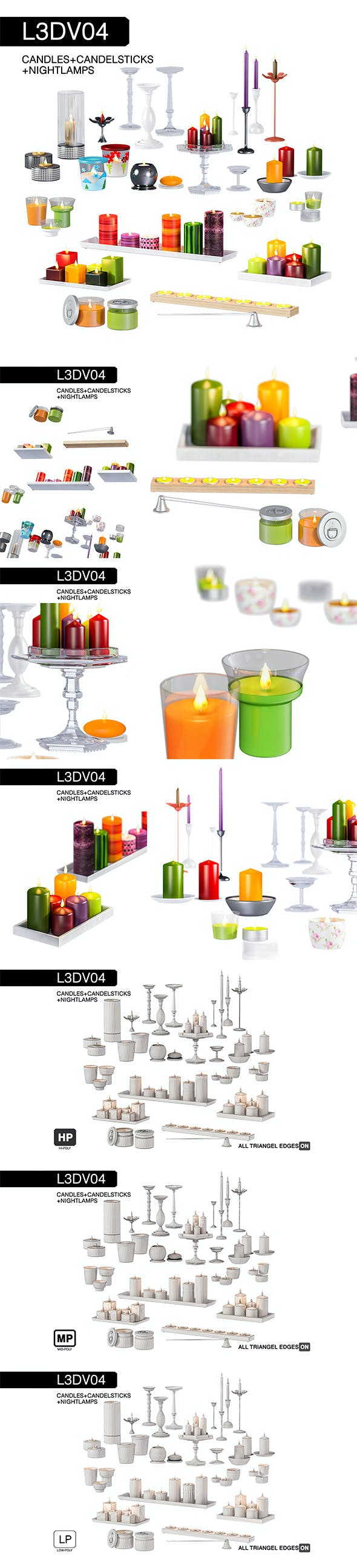 L3DV04G01 - candles and candlesticks set with 3 polygonal levels - 3DOcean Item for Sale