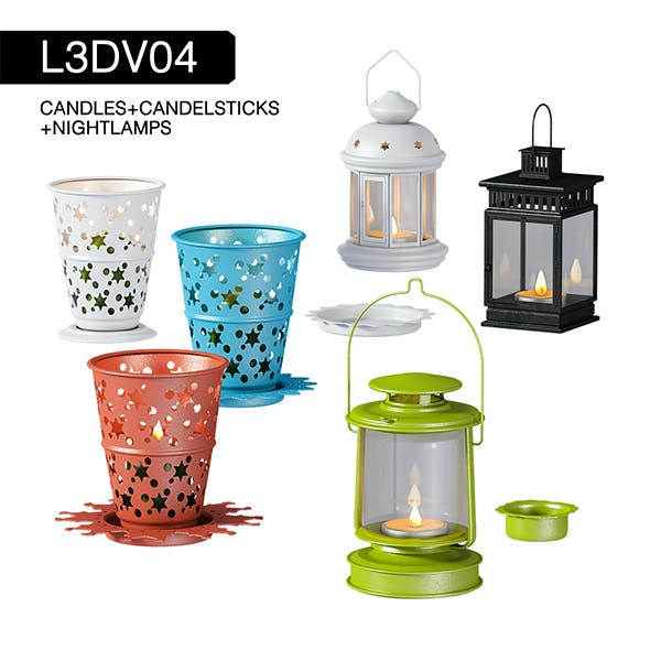 L3DV04G02 - night lamps and candlesticks set with 3 polygonal levels