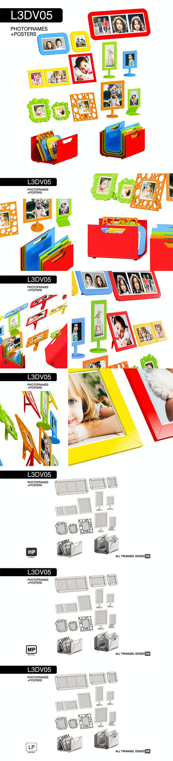 L3DV05G06 - photo frames holders set - 3DOcean Item for Sale
