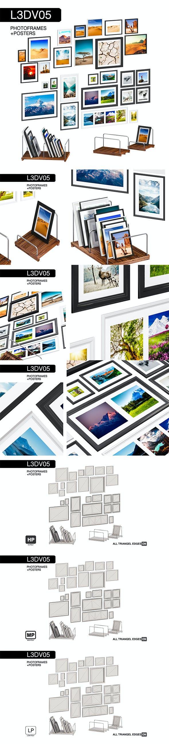L3DV05G07 - photo frames holders set - 3DOcean Item for Sale