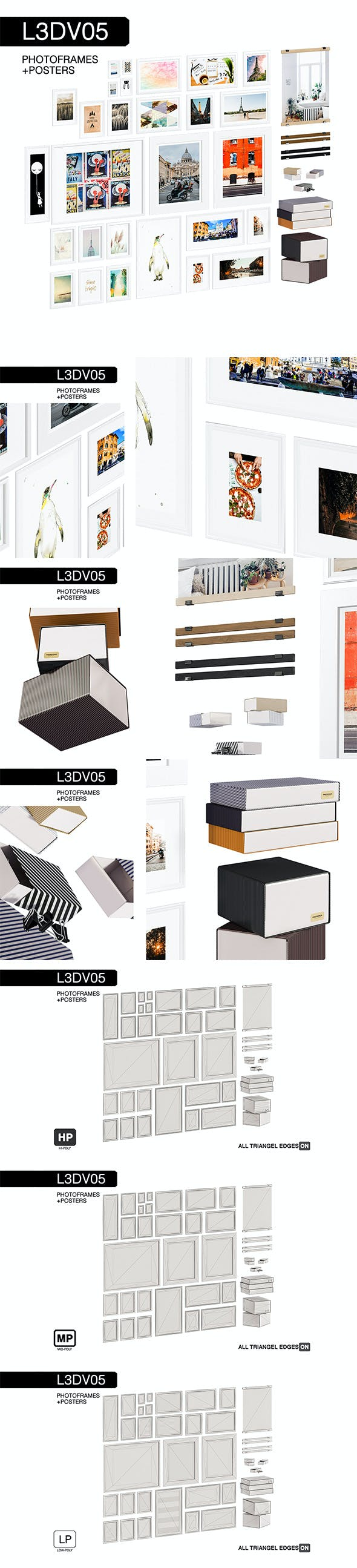 L3DV05G08 - photo frames boxes set - 3DOcean Item for Sale