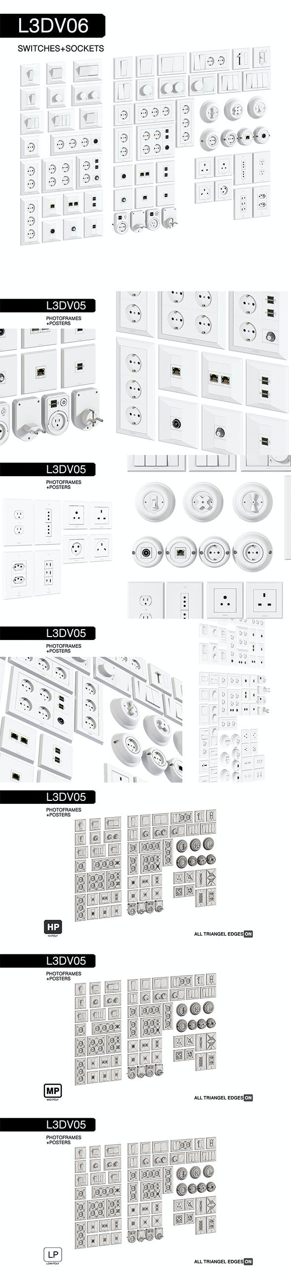 L3DV06G01 - wall switches sockets set - 3DOcean Item for Sale
