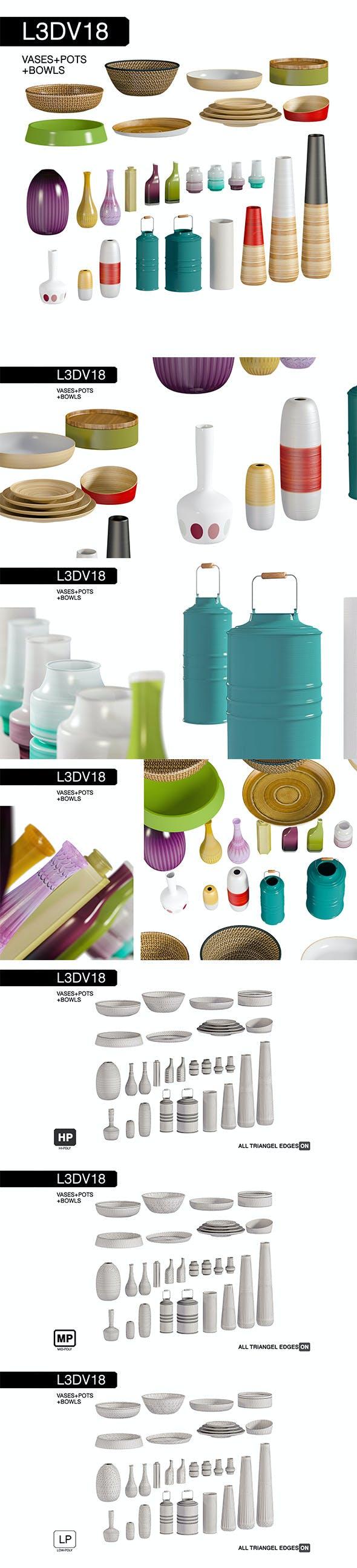 L3DV18G02 - vases bowls set - 3DOcean Item for Sale