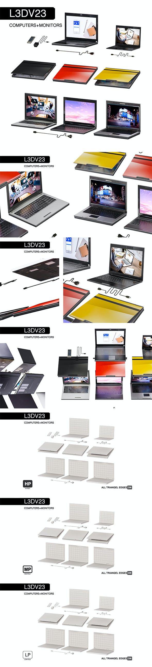 L3DV23G01 - laptops cabels set - 3DOcean Item for Sale