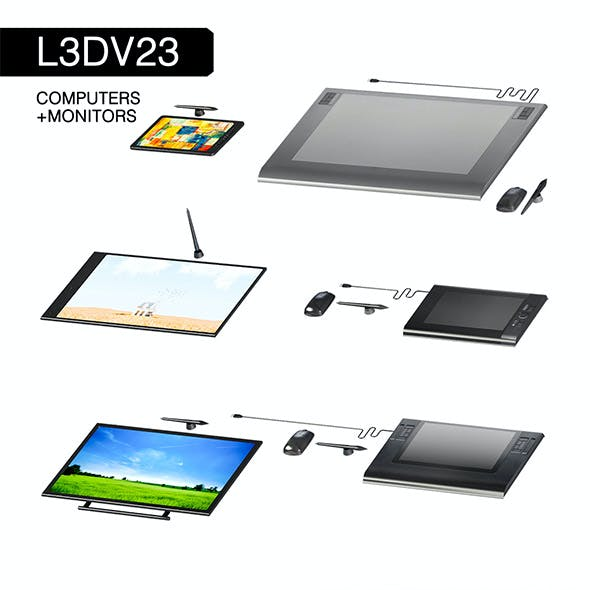 L3DV23G03 - computer graphics tablets set with 3 polygonal levels