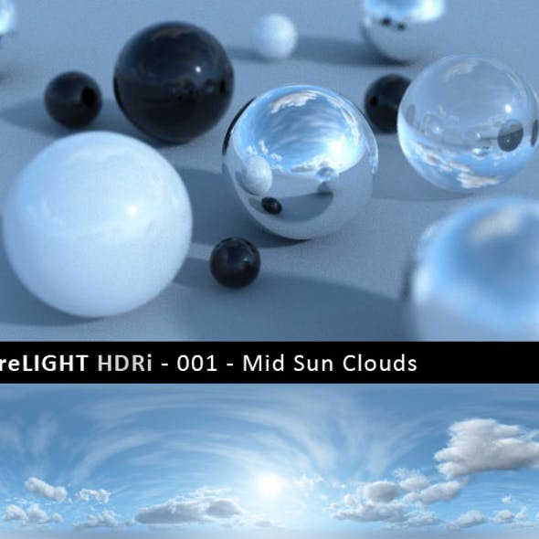 PureLIGHT HDRi 001 - Mid Sun Clouds