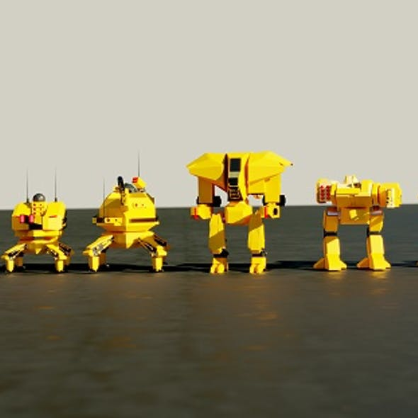 Lowpoly Game Ready Mech Pack