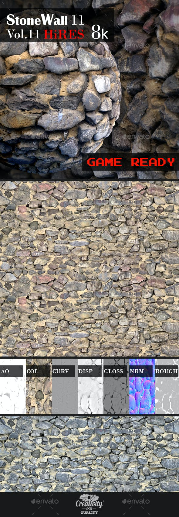 Stone Wall 11 - 3DOcean Item for Sale