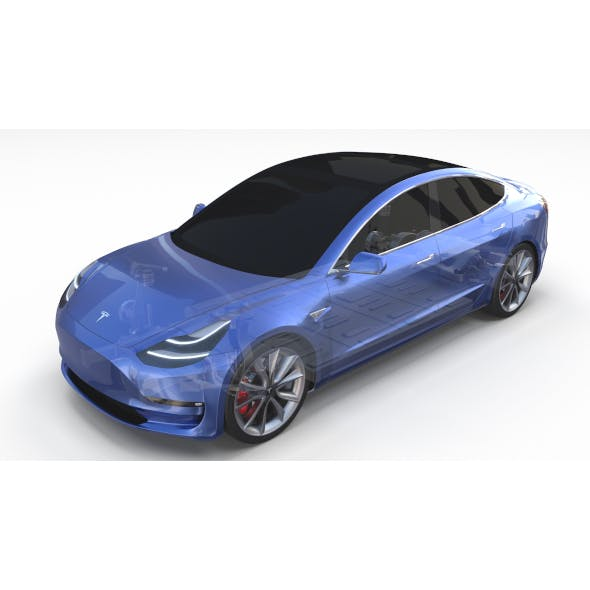 Tesla Model 3 with Chassis Blue - 3DOcean Item for Sale