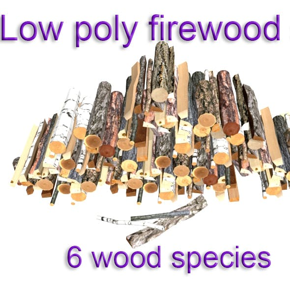 Firewood set Low-poly 3D model