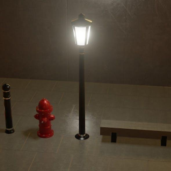 Street assets: pole, bench, cone, hydrant, bollard
