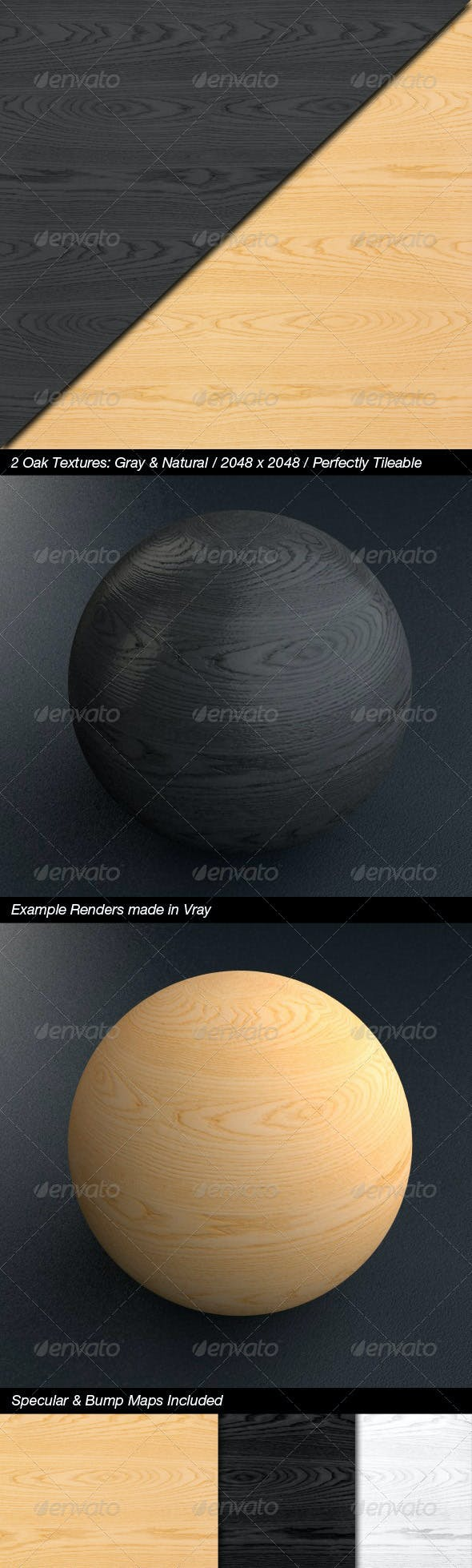 2 High Quality Oak Textures with Bump & Specular - 3DOcean Item for Sale