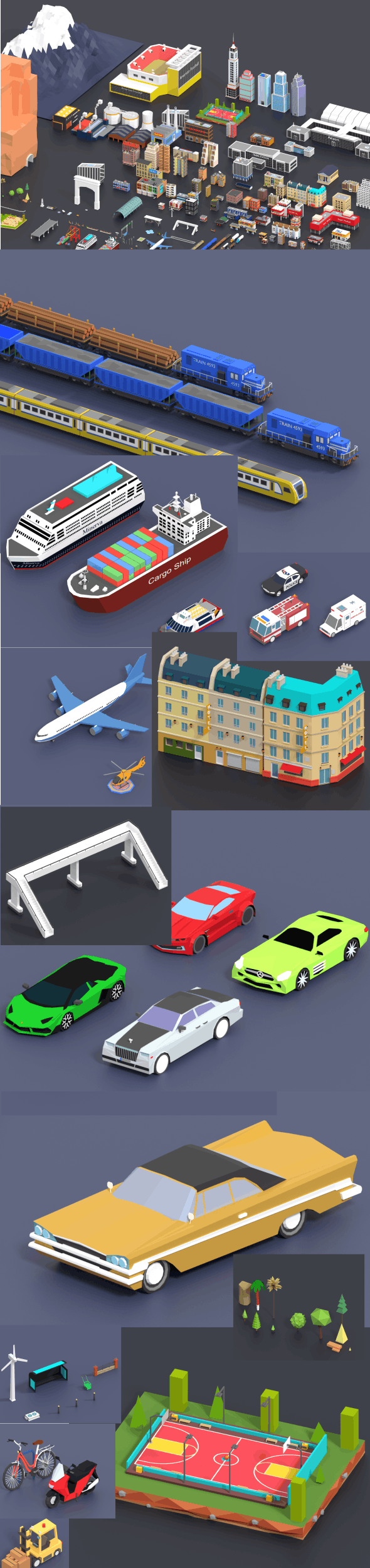 Low Poly City Pack - 3DOcean Item for Sale