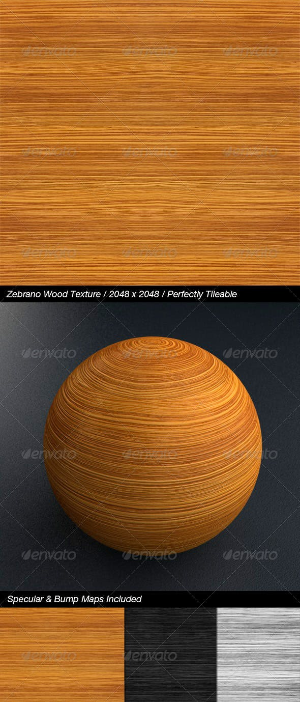 HQ Zebrano Wood with Bump & Specular Maps - 3DOcean Item for Sale