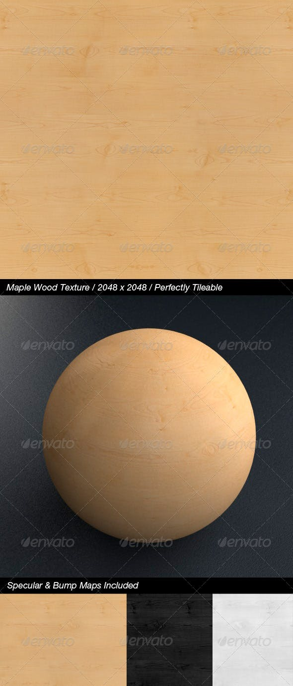 HQ Maple Wood with Bump & Specular Maps - 3DOcean Item for Sale