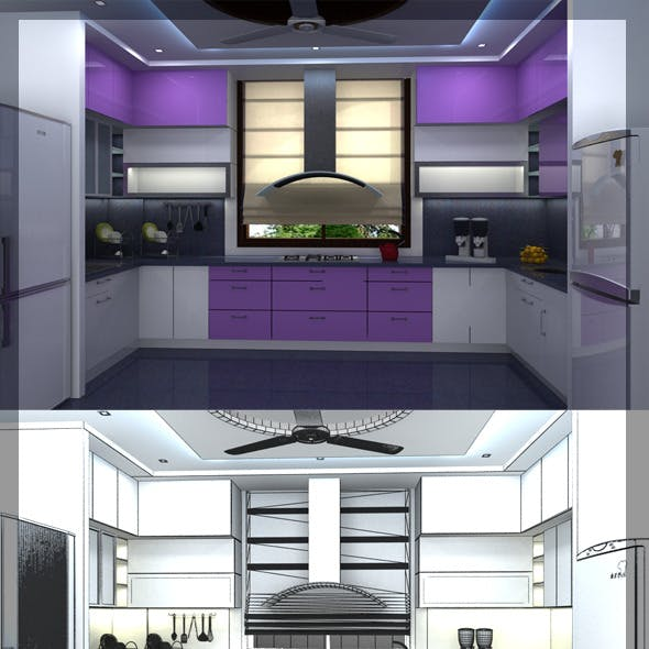 Realistic Kitchen interior 3D