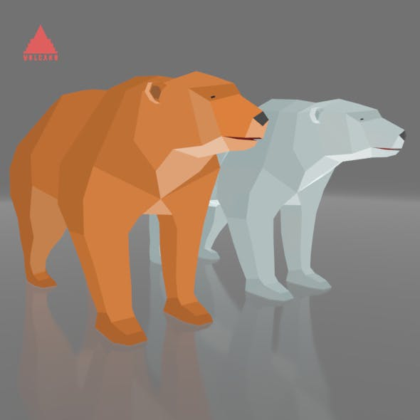 RIGGED AND ANIMATED LOW POLY 3D BEAR GAME MODEL