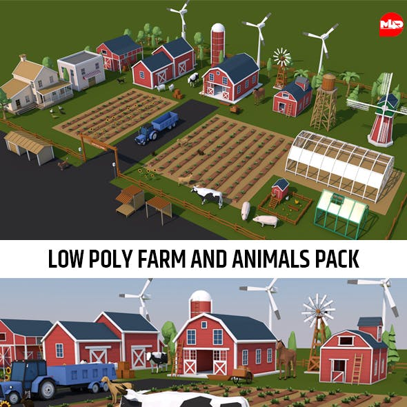 Low Poly Farm House and Animals Pack