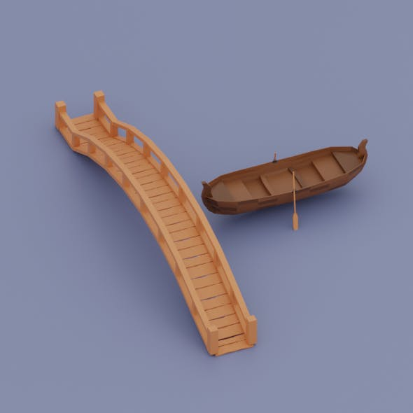 Low Poly Boat and bridge - 3DOcean Item for Sale