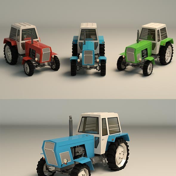 Low Poly Tractor 02