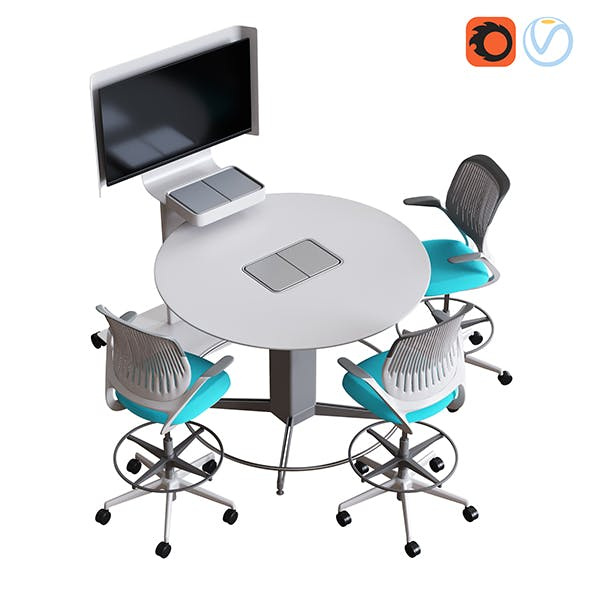 Steelcase - Media Scape Mobile and Round Table