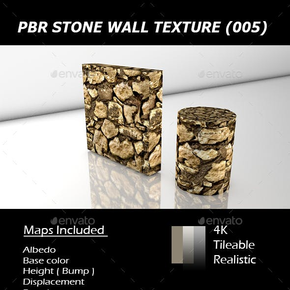 REALISTIC TILEABLE PBR STONE WALL TEXTURE (005).