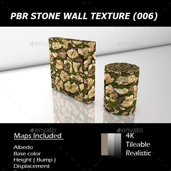 REALISTIC TILEABLE PBR MOSSY STONE WALL TEXTURE. (006)