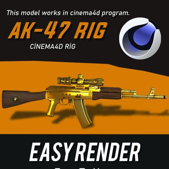 Ak-47 Gold 3D Model