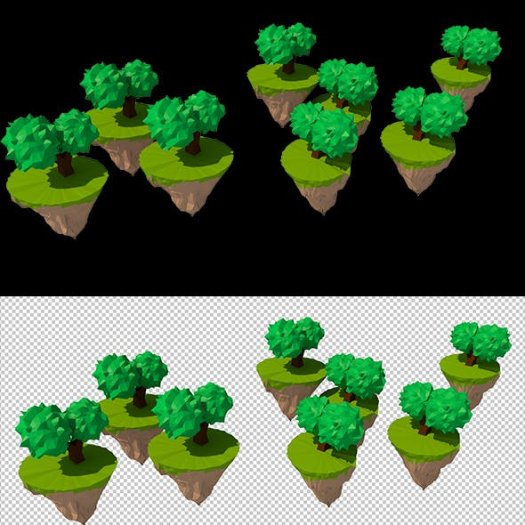 Low Poly Trees hovering